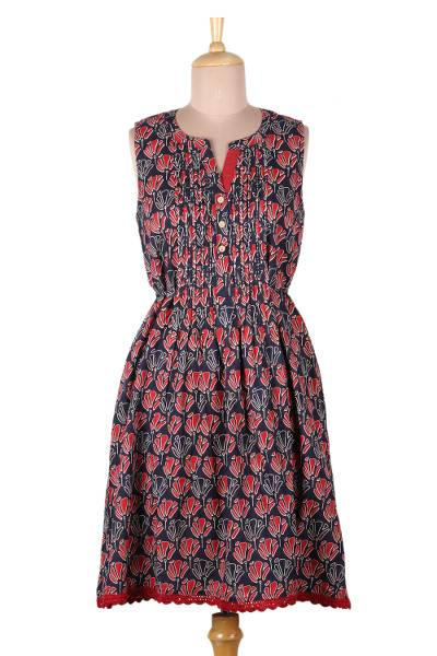 Sleeveless cotton dress, 'Tulip Delight' - Blue and Red Print A-Line Cotton Dress