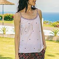 Embroidered cotton tank top, 'Summer Blooms' - Embroidered Camisole-Style Tank Top