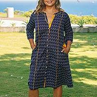 Cotton shirtdress, 'Pyramid Fantasy'