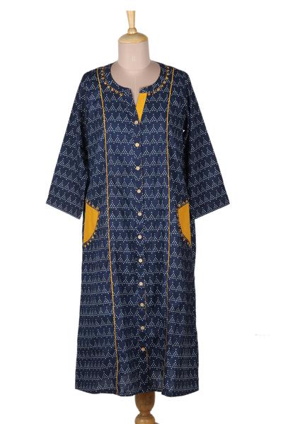Cotton shirtdress, 'Pyramid Fantasy' - Navy Blue Print Cotton Shirtdress from India