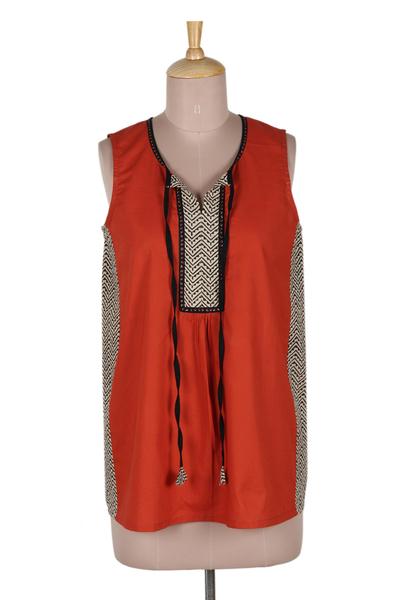 Cotton sleeveless top, 'Wave Hill' - Paprika and Black Sleeveless Cotton Tank Top