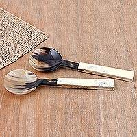 Horn and wood salad servers, 'Lucknow Repast' - Salad Servers Hand Crafted from Horn and Wood (Pair)