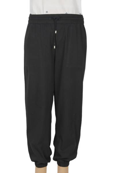 Cotton twill joggers, 'Casual Midnight' - Black Enzyme Wash Cotton Twill Joggers with Drawstring Waist