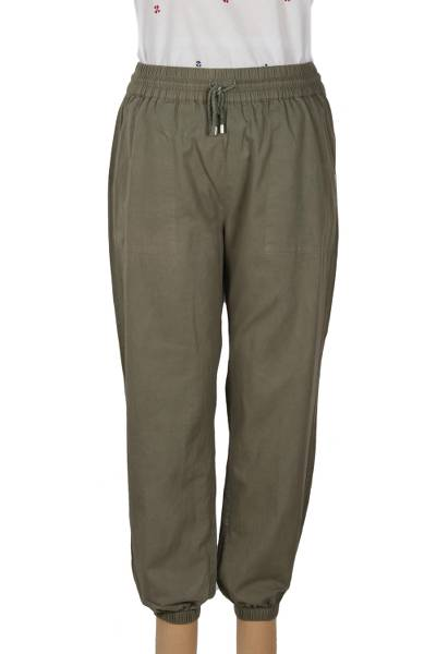 Cotton twill joggers, 'Casual Sage' - Sage Enzyme Wash Cotton Twill Joggers with Drawstring Waist