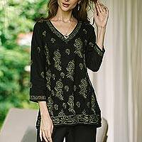 Embroidered cotton tunic, Midnight in the Garden