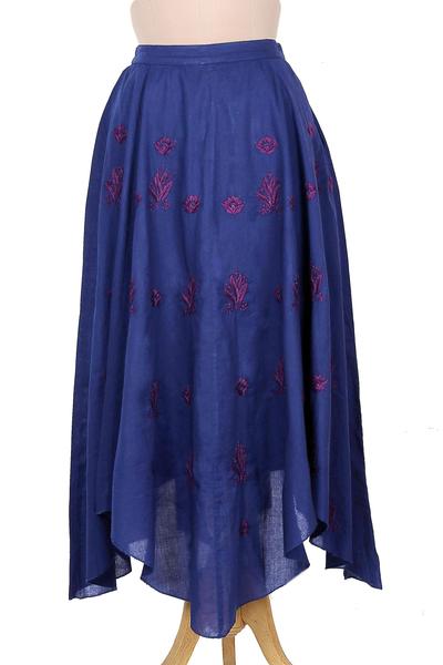Midnight Blue Embroidered Handkerchief Hem Skirt