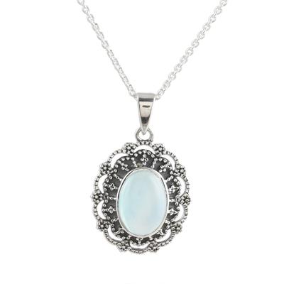 Aqua Chalcedony Cabochon Sterling Silver Pendant Necklace
