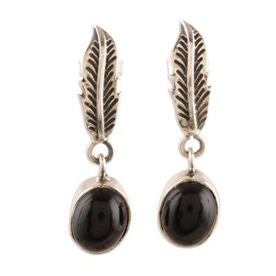 Black Onyx and Sterling Silver Leaf Dangle Earrings