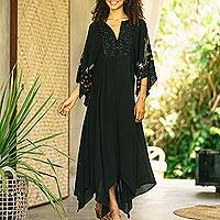 Embroidered crepe maxi dress, 'Dazzling Midnight' - Black Polyester Handkerchief Hem Embroidered Dress
