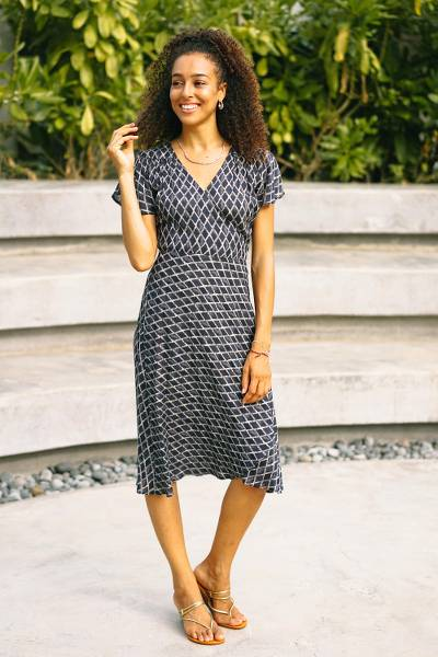 Viscose wrap dress, 'Creative Fusion in Indigo' - Beaded Indigo Viscose Wrap Dress