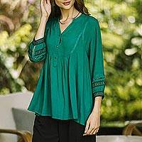 Embroidered viscose tunic, 'Vintage Viridian'