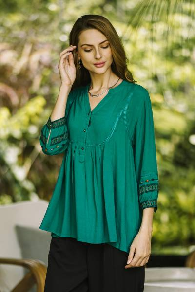 Embroidered viscose tunic, 'Vintage Viridian' - Embroidered Green Viscose Tunic