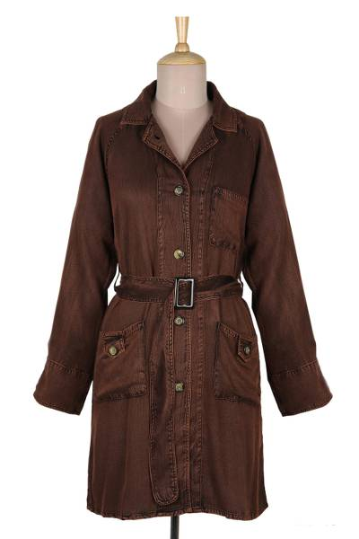 Viscose trench coat, 'Jaipur Fall' - Stone Washed Brown Viscose Trench Coat