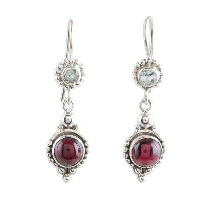 Garnet and Blue Topaz Silver Dangle Earrings