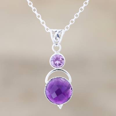 Amethyst pendant necklace, 'Alluring Serenity' - Amethyst Pendant Necklace with Over 12 Carats