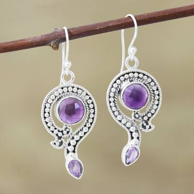 Amethyst dangle earrings, 'Graceful Query' - Artisan Crafted Amethyst Dangle Earrings
