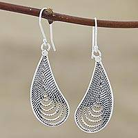 Sterling silver dangle earrings, 'Endless Tears' - Sterling Silver Filigree Dangle Earrings