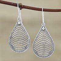 Sterling silver dangle earrings, 'Yamuna Tears' - Teardrop-Shaped Sterling Silver Earrings