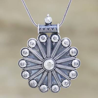 Sterling silver pendant necklace, 'Delhi Sun' - Ornate Medallion Pendant Necklace in Sterling Silver