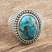 Men's sterling silver dome ring, 'Turquoise Swirl' - Sterling Silver and Reconstituted Turquoise Men's Dome Ring