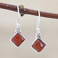 Carnelian dangle earrings, 'Happy Kites' - Square Carnelian Cabochon Dangle Earrings