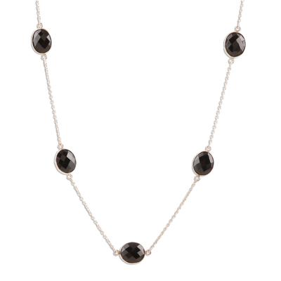 Long onyx station necklace, 'Captured Innocence' - Long Black Onyx Station Necklace