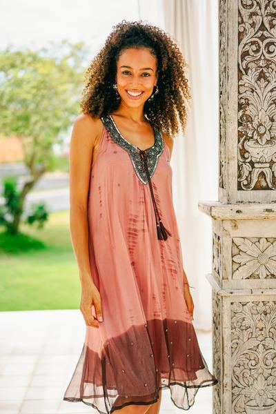 Viscose tie-dyed dress, 'Jaipur Sunset' - Handmade Viscose Chiffon Tie-Dyed Sleeveless Dress