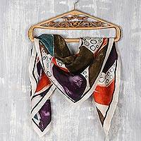 Hand-painted silk scarf, 'Vibrant Creativity' - Hand Woven and Hand Painted Square Silk Scarf