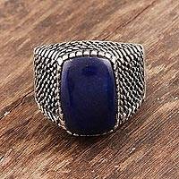 Men's lapis lazuli ring, 'Cobbled Path' - Men's Lapis Lazuli and Sterling Silver Ring