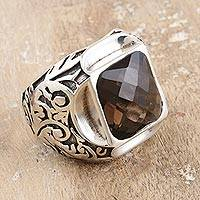 Men's smoky quartz ring, 'Primeval Garden' - Men's 16 Carat Smoky Quartz Ring