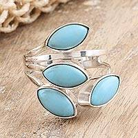 Sterling silver and reconstituted turquoise wrap ring, 'Breezy in Blue' - Sterling Silver and Reconstituted Turquoise Cocktail Ring