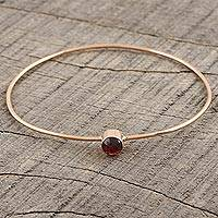 Rose gold plated garnet bangle bracelet, 'Red Dazzle' - Garnet and Rose Gold Plated Sterling Silver Bangle Bracelet