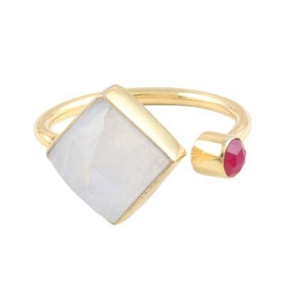 Rainbow Moonstone and Pink Chalcedony Cocktail Wrap Ring