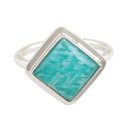 Square Amazonite Sterling Silver Cocktail Ring