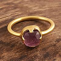 Gold plated amethyst solitaire ring, 'Regal Princess' - Amethyst and 18k Gold Plated Sterling Silver Cocktail Ring