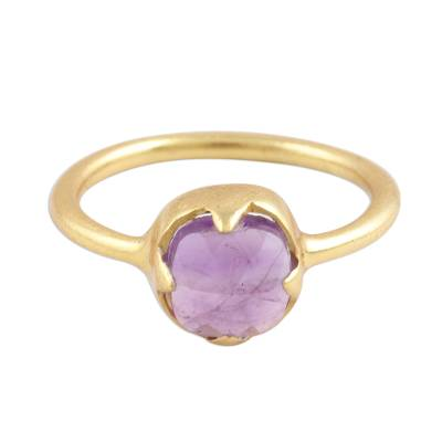 Amethyst and 18k Gold Plated Sterling Silver Cocktail Ring