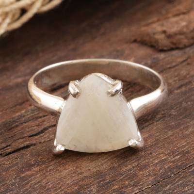 Rainbow moonstone solitaire ring, 'Misty Pyramid' - Triangular Rainbow Moonstone Sterling Silver Cocktail Ring