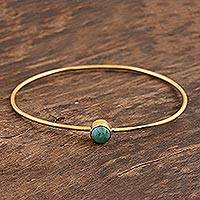 Gold plated reconstituted turquoise bangle bracelet, 'Blue Dazzle' - Gold Plated Reconstituted Turquoise Bangle Bracelet