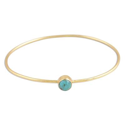 Gold Plated Reconstituted Turquoise Bangle Bracelet
