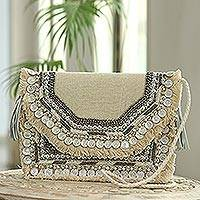 Embellished jute shoulder bag, 'Haryana Glam' - Beaded Fringed Jute Shoulder Bag from India