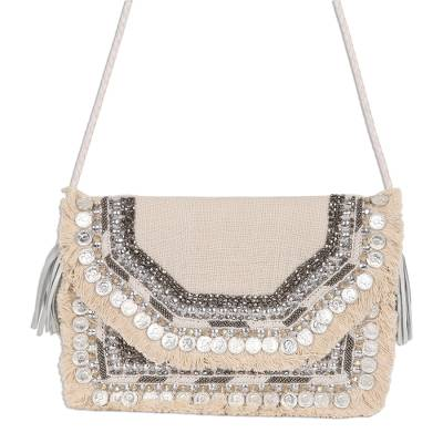 Beaded Fringed Jute Shoulder Bag from India