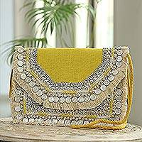 Embellished jute shoulder bag, 'Delhi Glam' - Embellished Yellow Jute Shoulder Bag