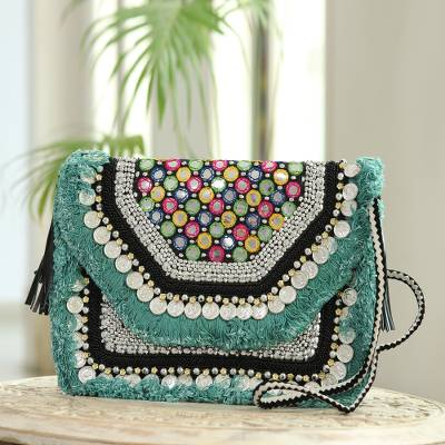 Embellished jute shoulder bag, 'Bollywood Color' - Colorful Embellished Jute Shoulder Bag