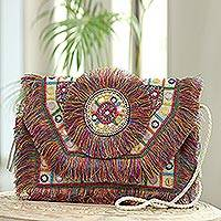 Embellished jute shoulder bag, 'Bollywood Rainbow' - Multicolored Fringed Jute Shoulder Bag from India
