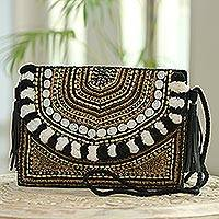 Beaded jute shoulder bag, 'Starry Night Sparkle' - Beaded Jute Shoulder Bag