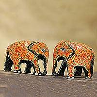 Papier mache figurines, 'Orange Flower Friends' (pair) - Hand Painted papier Mache Elephants (pair)