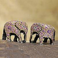 Papier mache figurines, 'Purple Flower Friends' (pair) - Purple and Gold Floral Papier Mache Elephants (Pair)