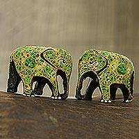 Papier mache figurines, 'Green Flower Friends' (pair) - Green Floral Papier Mache Elephant Figurines (Pair)