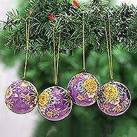 Papier mache ornaments, 'Mughal Holiday in Purple' (set of 4) - Beautiful Floral Papier Mache Ornaments (Set of 4)