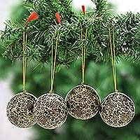 Papier mache ornaments, 'Holiday Blossoms in Black' (set of 4) - Black and Gold Floral Papier Mache Ornaments (Set of 4)